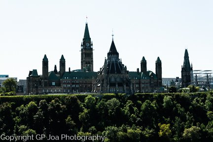 Rear view of Parliament buildings in Ottawa in the summer.